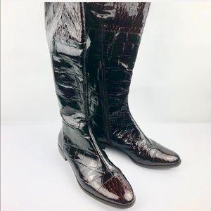 Shoes - ALEX MARIE Crocodile Brown Patent Leather Boots